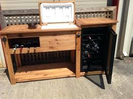 Wine Bar Table Sideboard With Mini Fridge Rustic Wooden Cooler Table Bar Cart