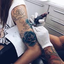 tattoo rose arm blue rose sleeve tattoo in the making tattoo ideas pinterest
