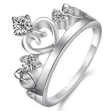 platinum crystal rings images Queen crown shape ring wedding band bride queen crown jpg