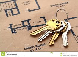 house keys on real estate housing floor plans royalty free stock