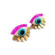 pink stud earrings hot pink evil eye stud earrings