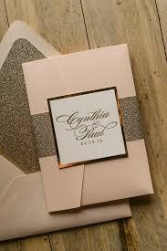 pocket wedding invitation suite glitter pocket fold package blush and gold gold