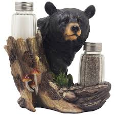 amazon com black bear glass salt and pepper shaker set sculpture