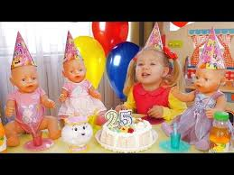 baby birthday birthday party baby born doll many gifts and cake for kids