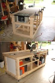 Woodworking Bench Plans by Diy Ultimate Workbench Table Saw And Outfeed Chop Saw Well