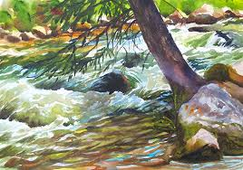 gore creek i developing a large studio oil painting from