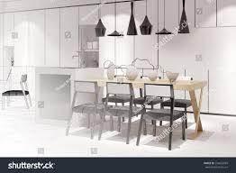 modern eat in kitchen sketch modern eatinkitchen dining table interior stock