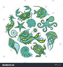 set cartoon marine animals hand drawing stock vector 413112001