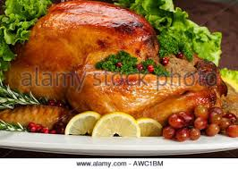 Turkey On The Table Roasted Turkey On A Platter With Fresh Salad Decoration Stock
