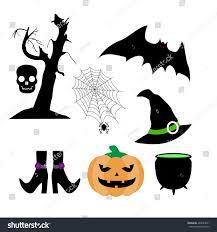 set silhouettes pumpkin bat hand drawn stock vector 493623811