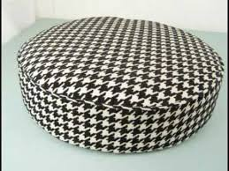 Diy Reupholster Ottoman by Upholstering A Round Stool By Mod Home Ec Teacher Youtube
