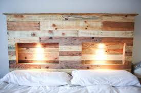 Pallet Bedroom Furniture Pallets Bed Headboard With Integrated Lightning U2022 1001 Pallets