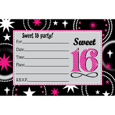 formal black and pink flourish sweet 16 birthday invitation