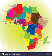 africa continent map detail color map of continent with borders each state is