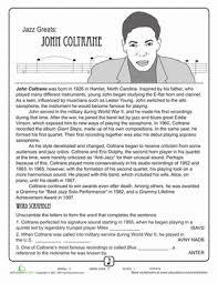 jazz greats john coltrane comprehension worksheets black