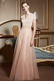 v neck beaded cream modest prom dress with short sleeves v neck