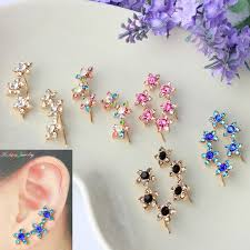fancy earing fancy ear cuff flower rhinestone earrings for women high quality