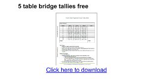 two table progressive tally 5 table bridge tallies free google docs
