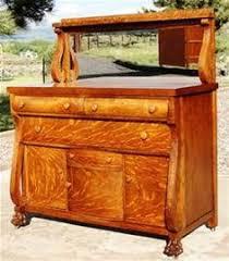 antique quarter sawn tiger oak buffet sideboard beveled mirror
