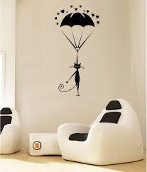 hoopoe decor cat landing with parachute wall arts wall stickers