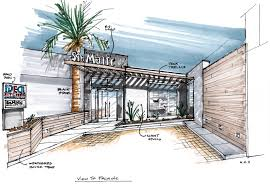 Kitchen Design Sketch Showroom Concept In Middle East Exterior Rendering Sketches And