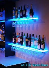 led lighted bar shelves 6 led lighted floating bar shelving with integrated wine glass rack