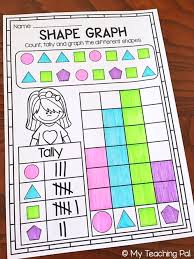 shape bar graphs and data collection for first grade printable