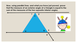 The Sum Of Interior Angles Triangles Discovery Lesson Exterior Angles Of A Triangle Equal