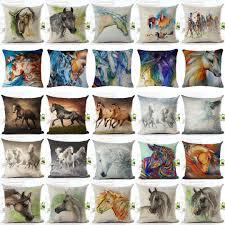 watercolor horse pillow cases cotton linen cushion cover fashion
