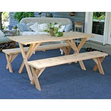 Wooden Picnic Tables With Separate Benches A U0026 L Furniture Pine Cross Legged Picnic Table With Benches