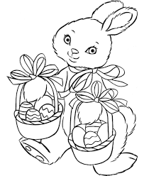 easter bunny baskets easter bunny two baskets of eggs free coloring page animals