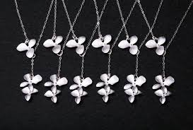 bridesmaid gifts set of six wedding jewelry orchid flower lariat