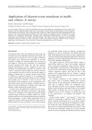 application of discrete event simulation in health care clinics a