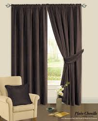 lined bedroom curtains ready made chocolate brown colour plain chenille fabric pencil pleat fully