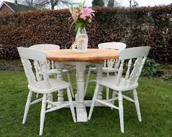 shabby chic round dining table beautiful shabby chic chunky pine round farmhouse dining table and 4