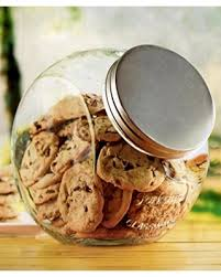 spectacular deal on glass cookie jar embossed metal