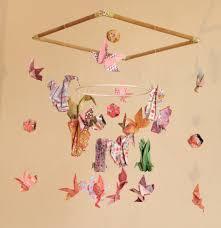 mobile chambre enfant mobile bébé origami suspension bois chambre enfant animaux écureuil