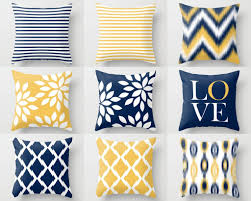 throw pillow covers navy yellow and white m32 decorative