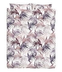 patterned duvet cover set white leaf h u0026m home h u0026m us