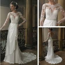 long sleeve lace wedding dress low back v shape with beading belt