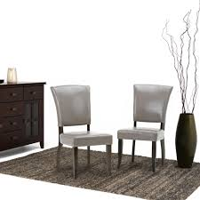simpli home joseph taupe pu faux leather dining chair set of 2