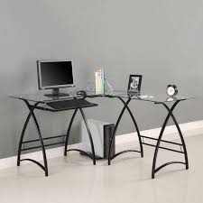 L Shaped Black Glass Desk Desks Top 71 Ace Black Glass Desk Finesse Home Office Computer