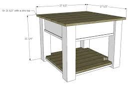 Farmhouse Side Table Zinc Top Farmhouse Side Table Tool Belt