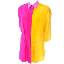 ombre blouse escada vintage silk yellow and pink color block blouse with ombre
