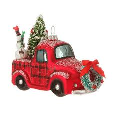 new raz truck or woody automobile glass tree ornament