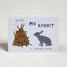 rabbit birthday greedy rabbit children s birthday card by lil3birdy