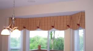 imperial valance in bay window custom window treatments