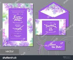 Design Invitation Cards Vector Set Invitation Cards Watercolor Flowers Stock Vector