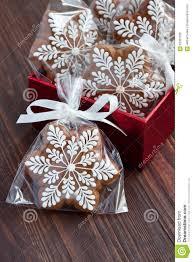 christmas present in gift box gingerbread cookies stock photo