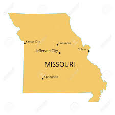 St Louis Mo Map Yellow Map Of Missouri With Indication Of Largest Cities Royalty